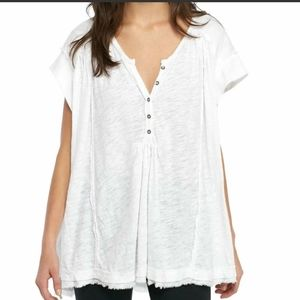 Free People Aster High Low Henley Top Tee XS